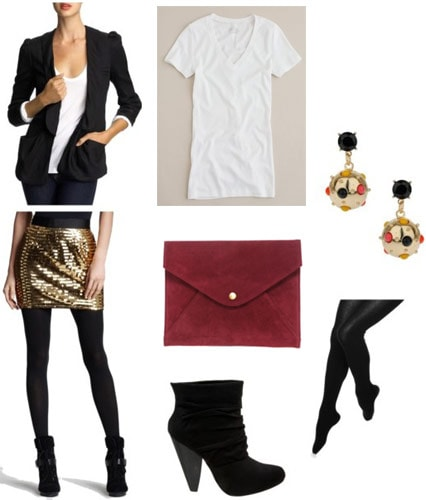 Xmas fashionista outfit: Sequin mini, v-neck tee, blazer, boots, tights, red clutch, earrings