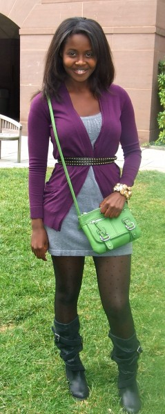 Clemantine, a college fashionista wearing the latest fashion trends at Yale University