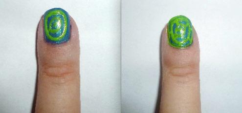 Yayoi Kusama nail art - blue and green middle nails