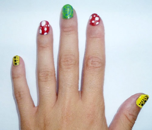 Nail art inspired by Yayoi Kusama