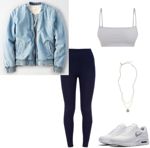 Yeezy Season 6 dupes: Outfit with denim bomber jacket, navy blue leggings, gray bra top, layered necklaces and white sneakers, inspired by Paris Hilton in the Yeezy ad as a Kim clone