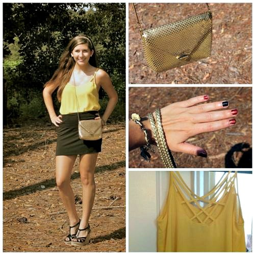 Yellow and gold school colors outfit