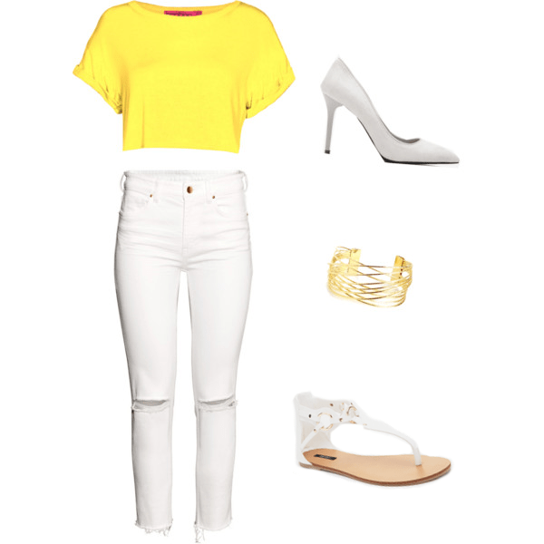 yellow blouse and white jeans