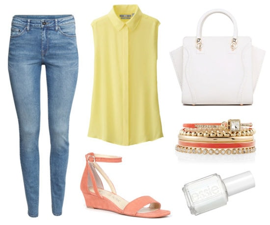 yellow blouse, jeans, peach sandals