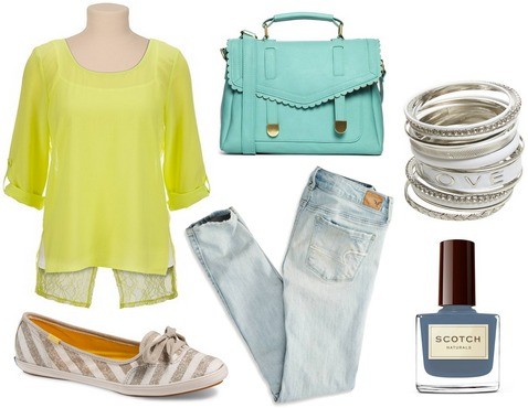 Yellow blouse, robin egg bag, jeans