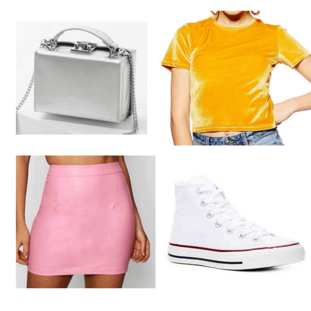 yellow velvet crop top, pink fauxleather skirt, silver handbag, white sneakers