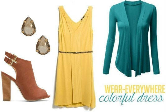 Yellow dress and teal cardigan outfit