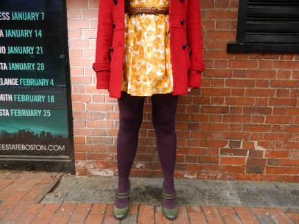 Yellow dress with Purple tights