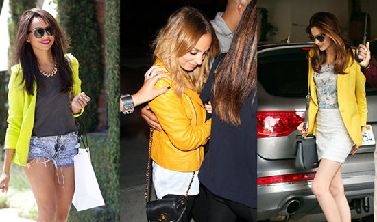 Yellow jacket trend seen on Kat Graham, Nicole Richie, and Miranda Kerr