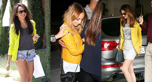Yellow jacket trend seen on Kat Graham, Nicole Richie, and Miranda Kerr