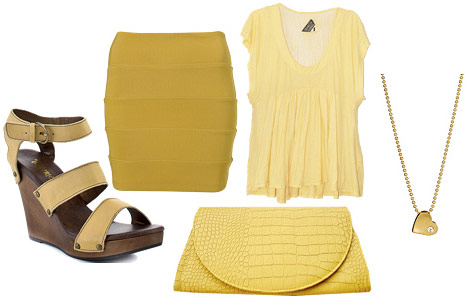 Monochrome yellow outfit: Top, skirt, platforms and clutch