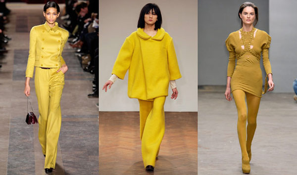 Monochrome yellow outfits on the runways at Fashion Week