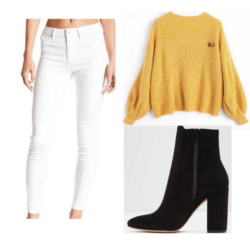 Yellow sweater outfit