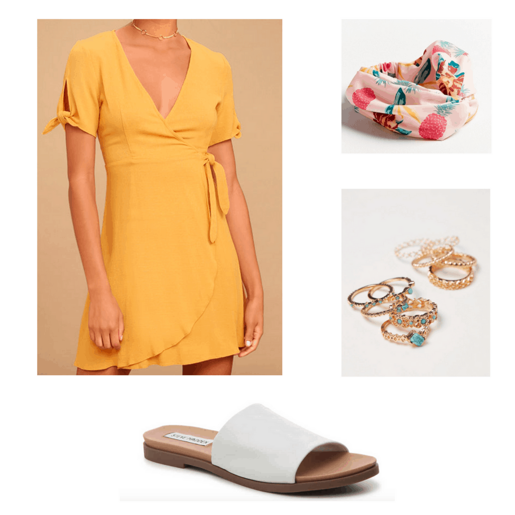 Yellow dress, pineapple print headband, turquoise rings, and white sandals outfit