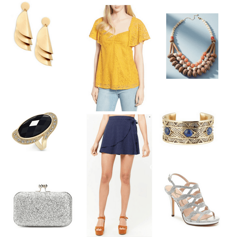 Outfit with yellow lace flutter-sleeve top, navy polka dot wrap skirt, orange bib necklace, gold earrings, cocktail ring, statement cuff, silver sparkly clutch, and silver sparkly heels