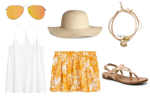 Yellow tropical print shorts outfit