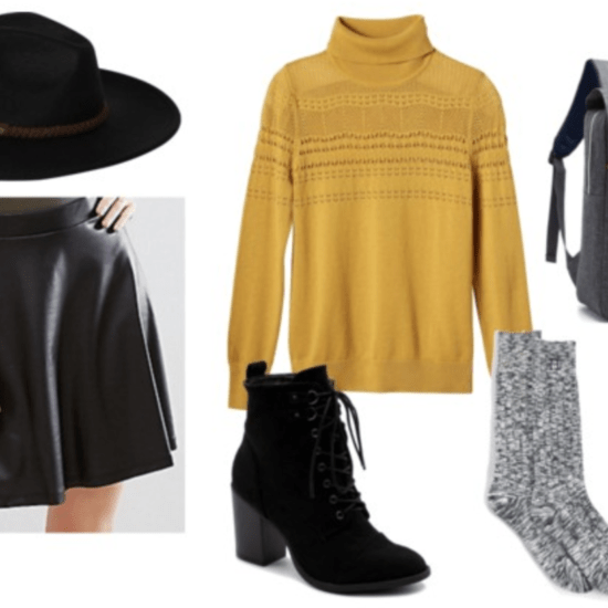 yellow turtleneck leather skirt outfit with gray socks, gold watch, lace-up black ankle booties, backpack