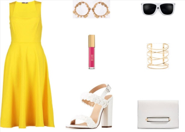 Yellow midi dress with gold coin earrings, white braided heels, white clutch, gold bracelet, pink matte lipstick, and white sunglasses.