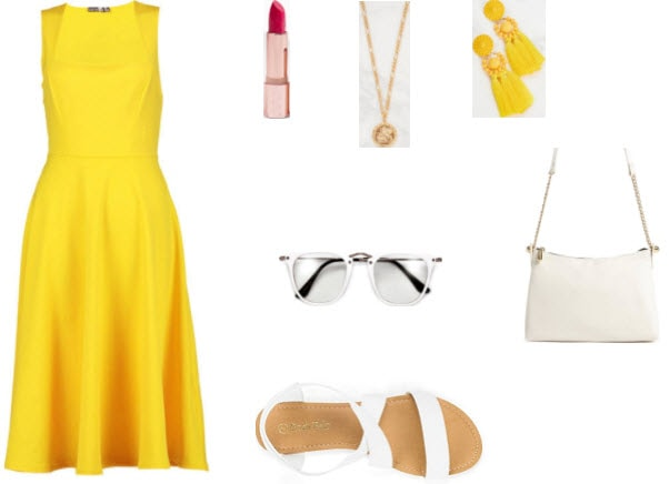 Yellow midi dress from Boohoo with pink lipstick, gold coin necklace, yellow tassel earrings, white clear lenses, white sandals, and white crossbody bag.