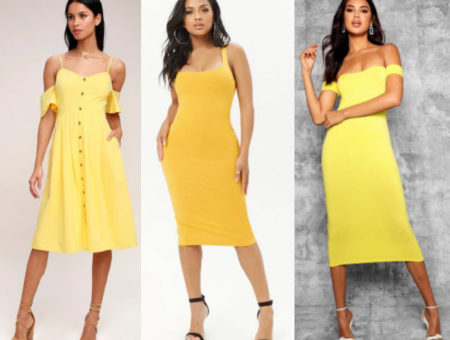 Yellow midi dress style with spaghetti strap midi, yellow midi from Forever 21, and off the shoulder midi from Boohoo.