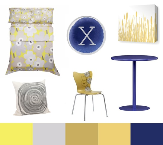 Yellow, Grey, and Cobalt Blue