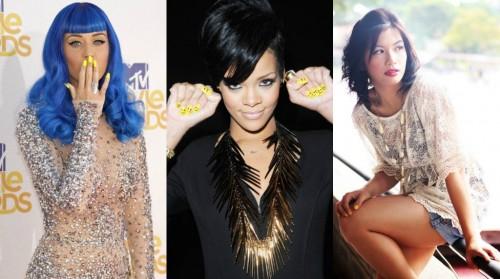 Katy Perry, Rihanna and a street style look showcase the yellow nail polish trend