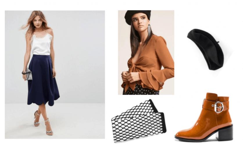 Doki Doki Literature Club Yuri Outfit Inspiration: Navy Midi Skirt, Camel Leather Bootie, Fishnet Tights, Black Wool Beret and a Sheer Orange Chiffon Tie Up Shirt