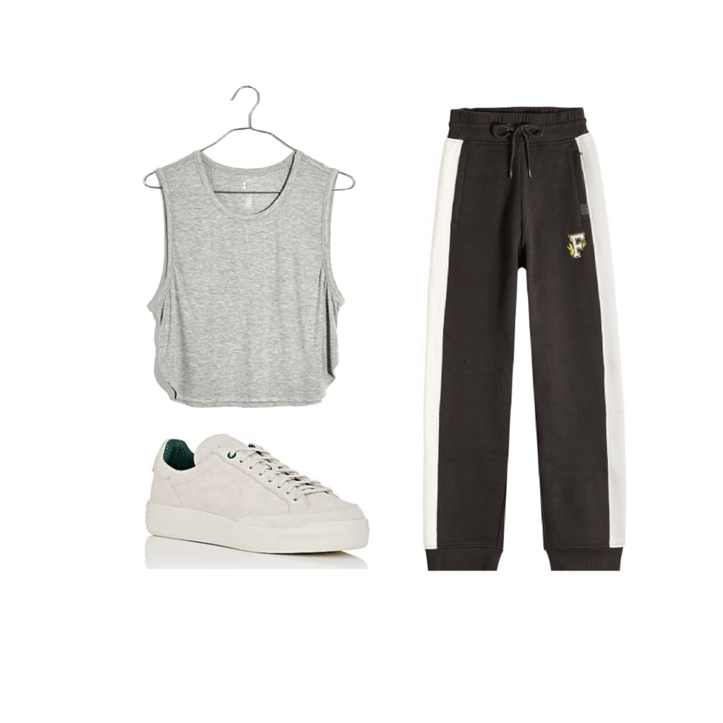 Gray cropped tank, black sweatpants, all white sneakers.
