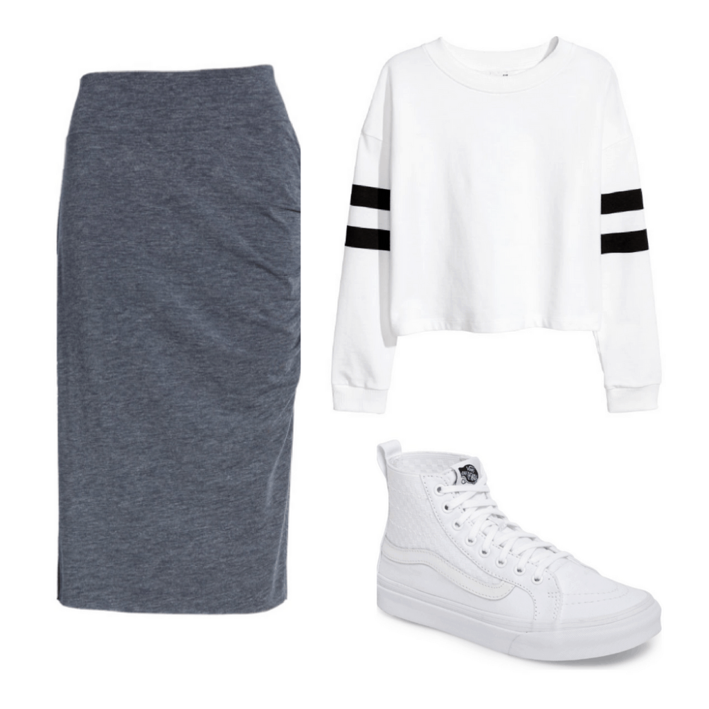 Outfit set- gray midi skirt, white crewneck cropped, all white vans.