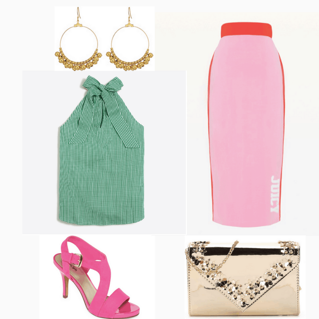 Gold jewelry and accents, neon pink shoes, bright pink skirt, green tie top.
