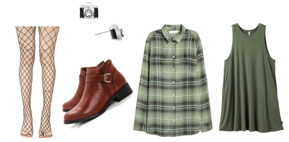 Outfit inspired by Zachery Steele: green striped flannel, green shirt dress, brown boots, fishnets, camera earrings