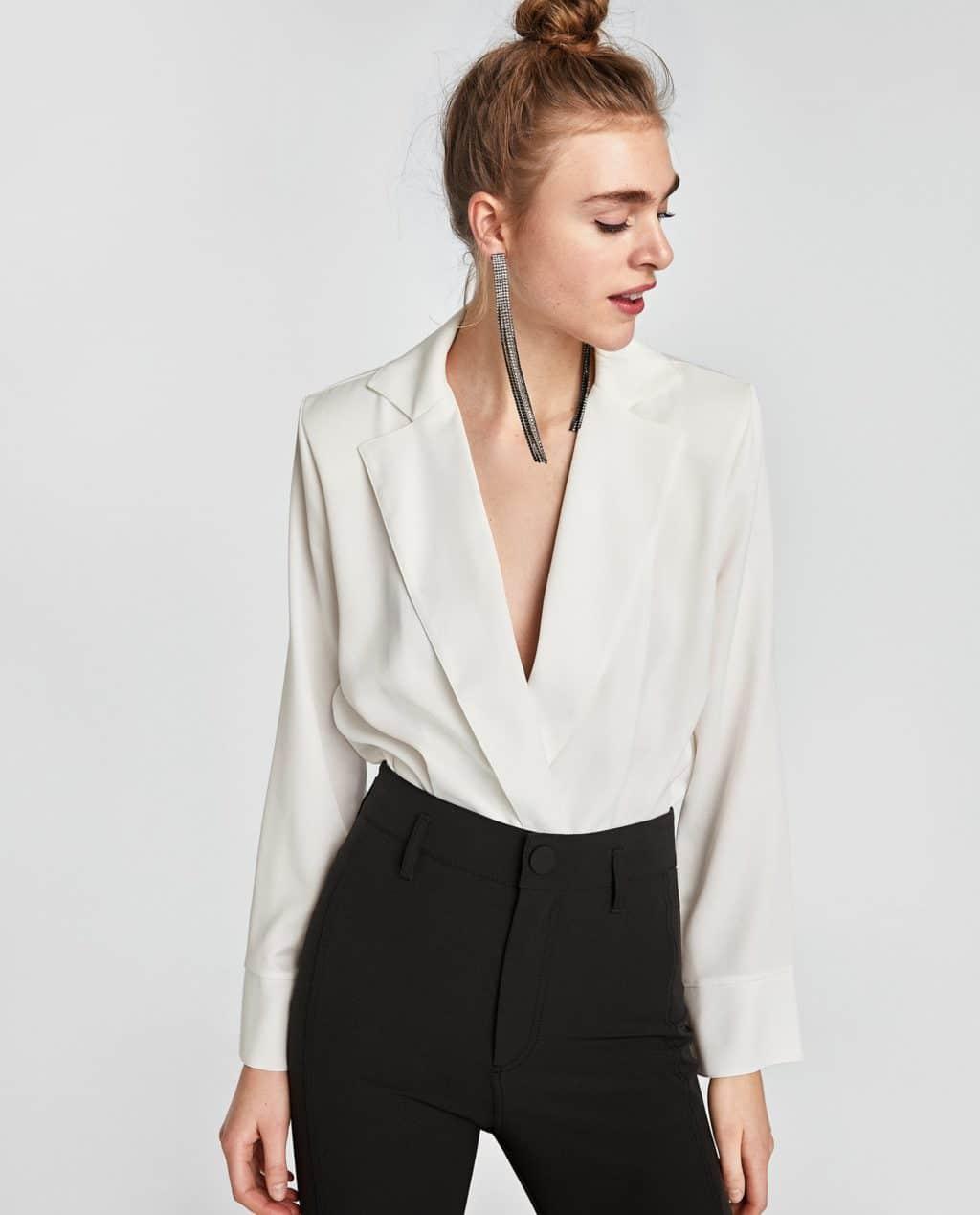 Zara white deep v top