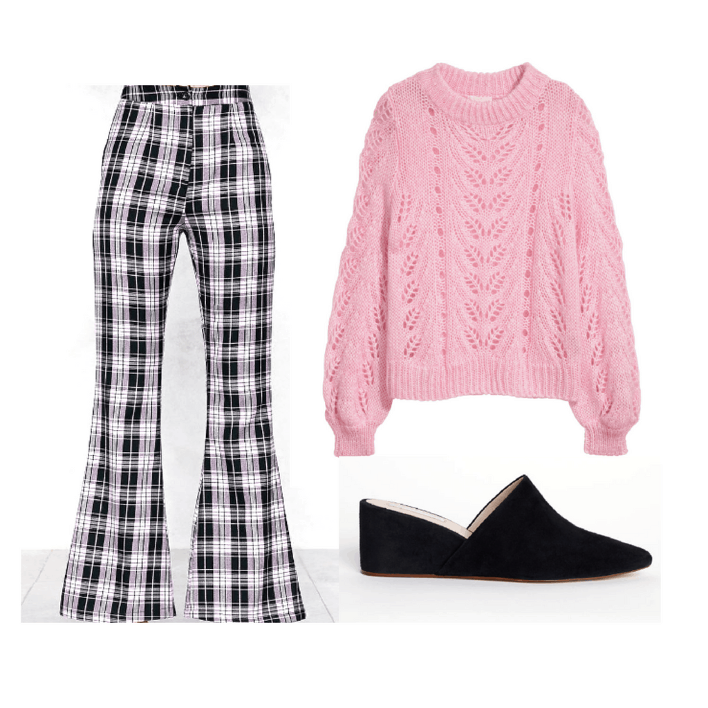 Plaid, high waisted pants with flared bottoms, black chunky heels, pink knit sweater.