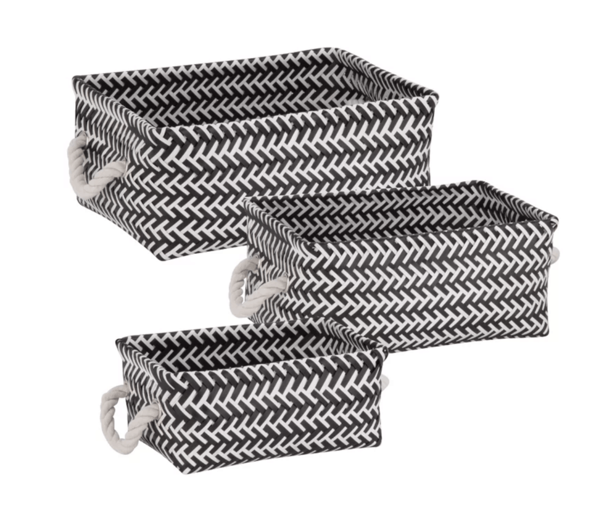 Zig-zag underbed organizing baskets with rope handles from Wayfair.