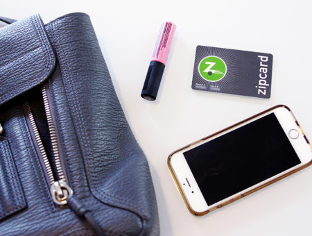 Purse essentials: Lip color, phone, zipcard