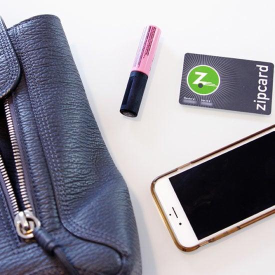 Purse essentials: Lip color, phone, zipcard