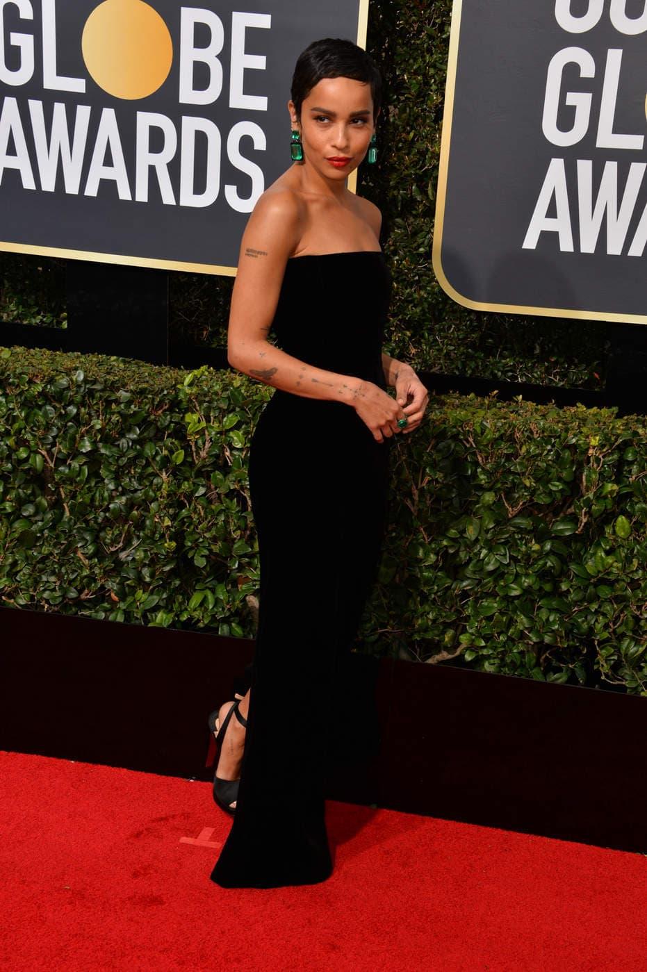 Zoe Kravitz in a black sleeveless Saint Laurent gown at the 2018 Golden Globe Awards red carpet