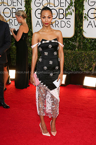Zoe Saldana in Prabal Gurung at the 2014 Golden Globes