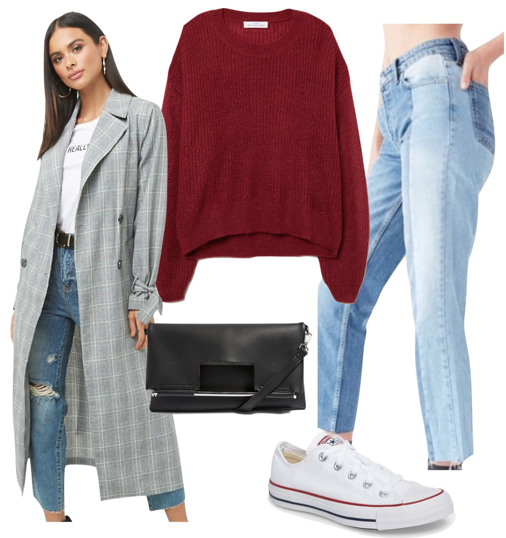 Zoey Deutch Outfit: dark red ribbed sweater, gray plaid long trench coat, high rise two-tone spliced jeans, black shoulder bag, and white Converse low-top sneakers