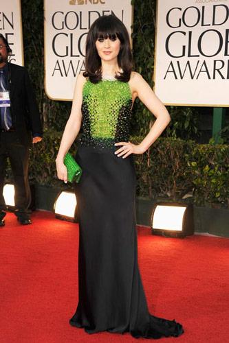 Zooey Deschanel in custom Prada at the 2012 Golden Globe Awards