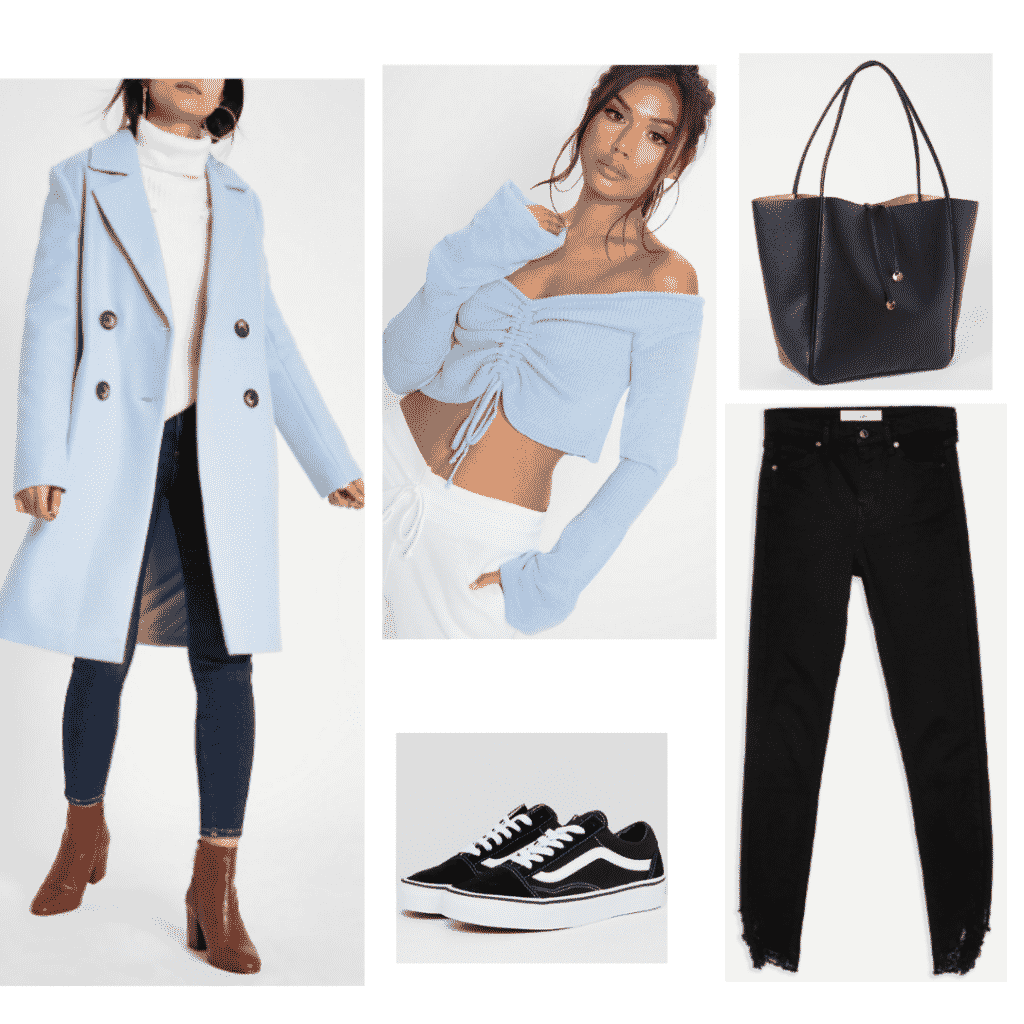 Jin BTS style: Outfit inspired by Jin with light blue crop top, light blue jacket, black vans, and black jeans