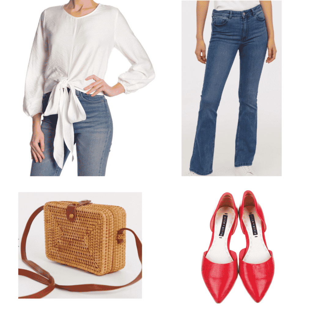 What to wear in Spain: Outfit with bow top, simple jeans, woven purse, red flats