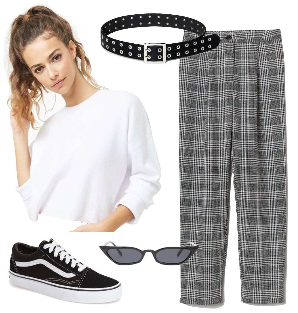 Behati Prinsloo Outfit: white cropped sweatshirt, gray plaid high rise pants, black and silver grommet belt, black skinny cat-eye sunglasses, and black and white low-top Vans sneakers