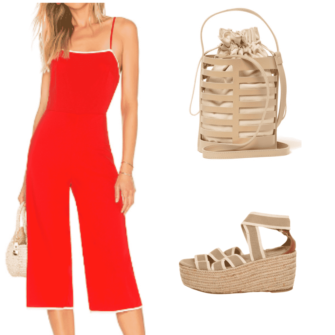 What to wear in Beijing: Outfit with red jumpsuit with white trim, perforated bucket bag, heeled espadrilles
