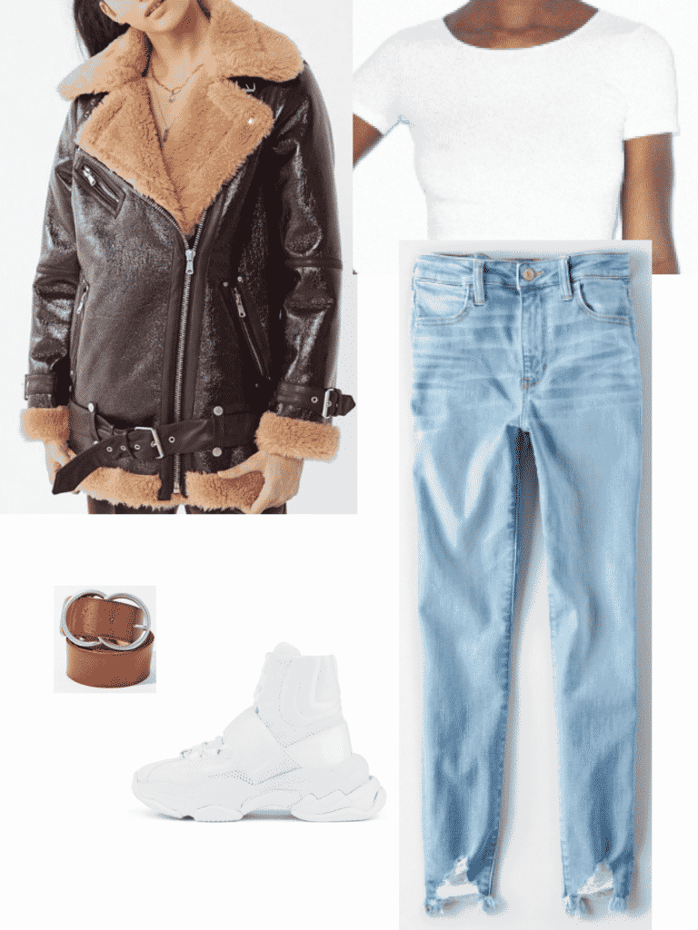 Hailey Bieber outfit with light wash jeans, bomber jacket, t shirt, belt, white sneakers