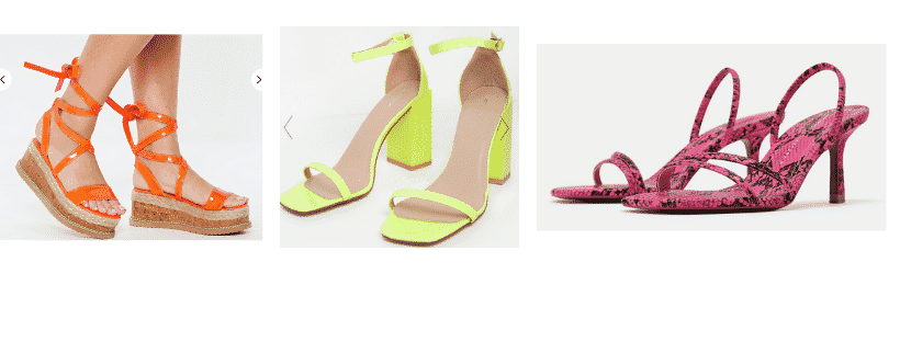 Neon trend for spring - neon shoes with orange neon platform sandals, neon yellow block heels, and neon pink snakeskin kitten heels
