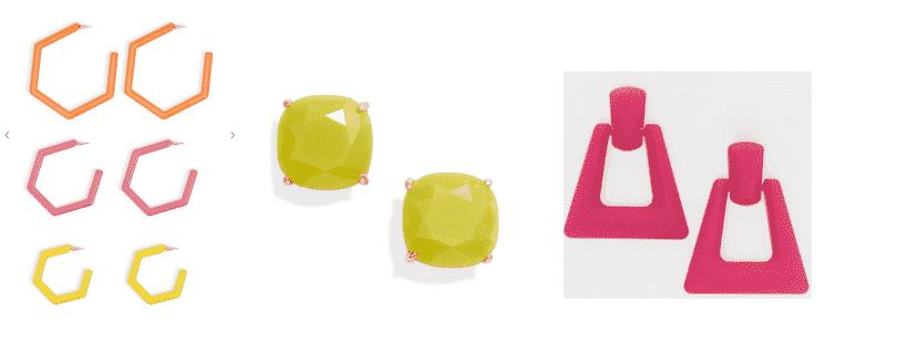 Neon trend for spring - neon earrings: Orange, pink and yellow neon hoops, neon studs, and pink neon doorknocker earings