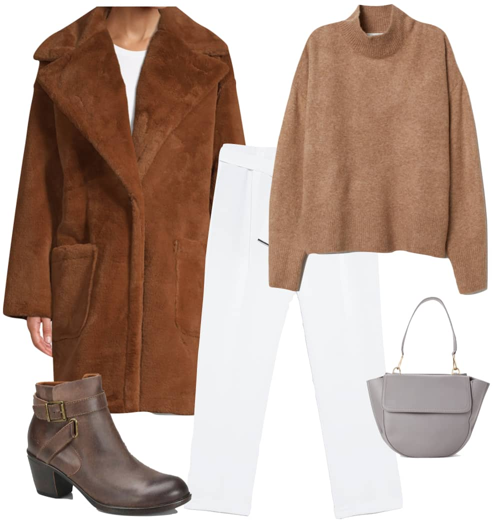 Candice Swanepoel Outfit: brown faux fur coat, camel colored turtleneck sweater, white pants, brown buckled ankle booties, and a gray handbag