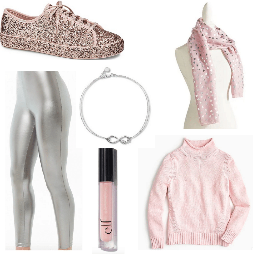 Metallic Muse Outfit with metallic leggings, pink sweater, pink scarf, lip gloss, and glitter sneakers