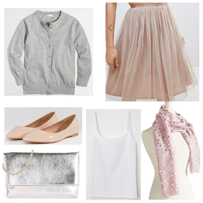 Winter Pastels outfit with tulle skirt, gray sweater, nude flats, metallic bag, white tank, scarf